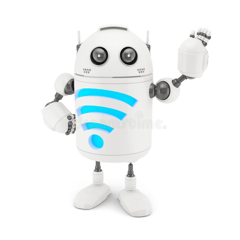 Download Robot with WiFi symbol stock illustration. Image of fidelity - 33524949