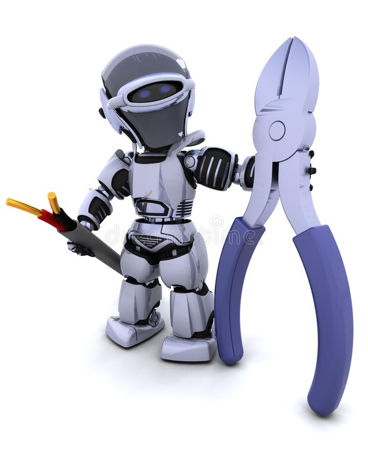 Robot With Wire Cutters And Cable Stock Illustration - Illustration ...
