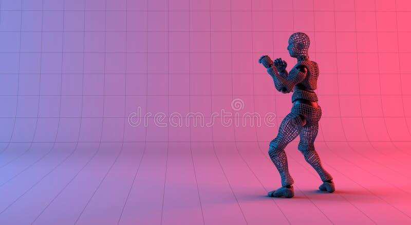 Robot wireframe guard stance on gradient red violet background stock illustration
