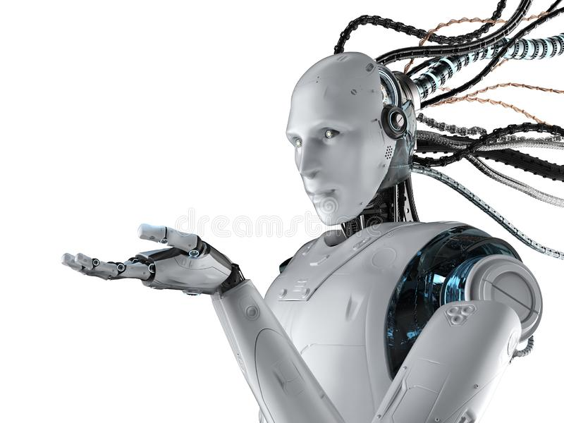Robot with wires isolated. 3d rendering humanoid robot with wires isolated on white royalty free illustration