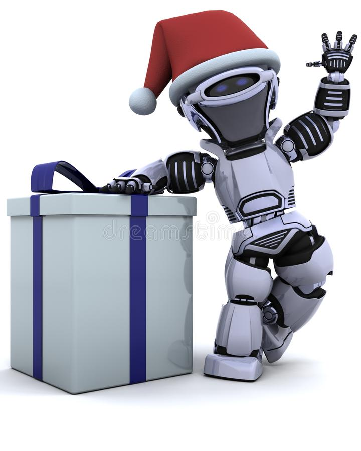 Free Robot With Christmas Gift Box With Bow Royalty Free Stock Image - 15585456