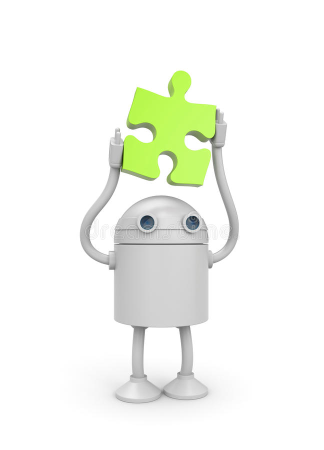 Free Robot With Puzzle Stock Photo - 17085240