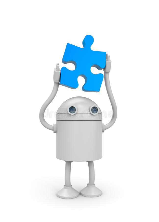 Free Robot With Puzzle Royalty Free Stock Images - 17551289