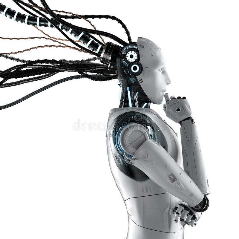 Free Robot With Wires Isolated Royalty Free Stock Photography - 150074637