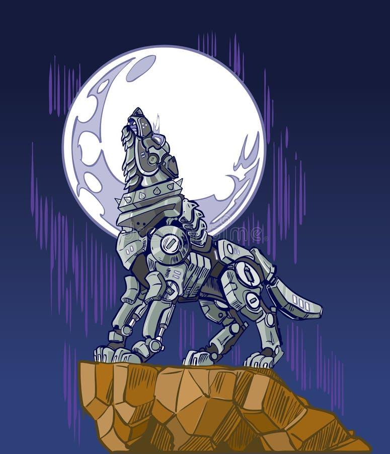 Robot Wolf Howling all'illustrazione di vettore della luna illustrazione di stock