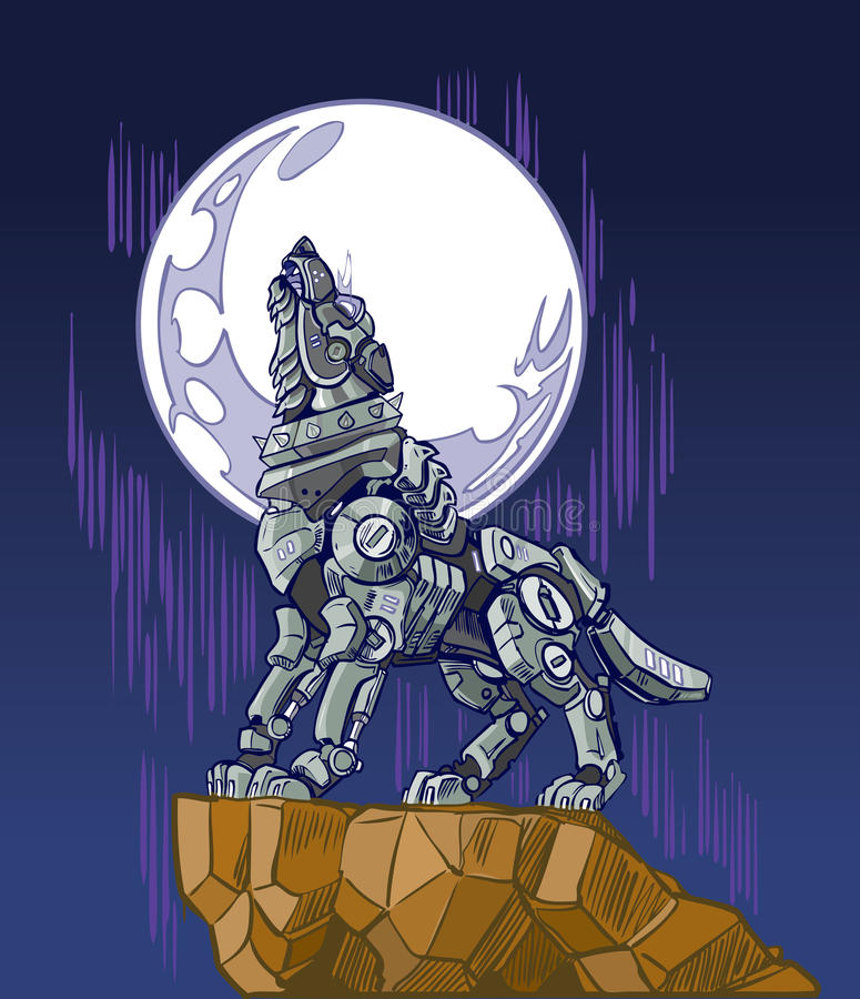 Robot Wolf Howling at Moon Vector Illustration. Vector cartoon clip art illustration of a mechanical robot wolf baying or howling at the moon while standing on a stock illustration