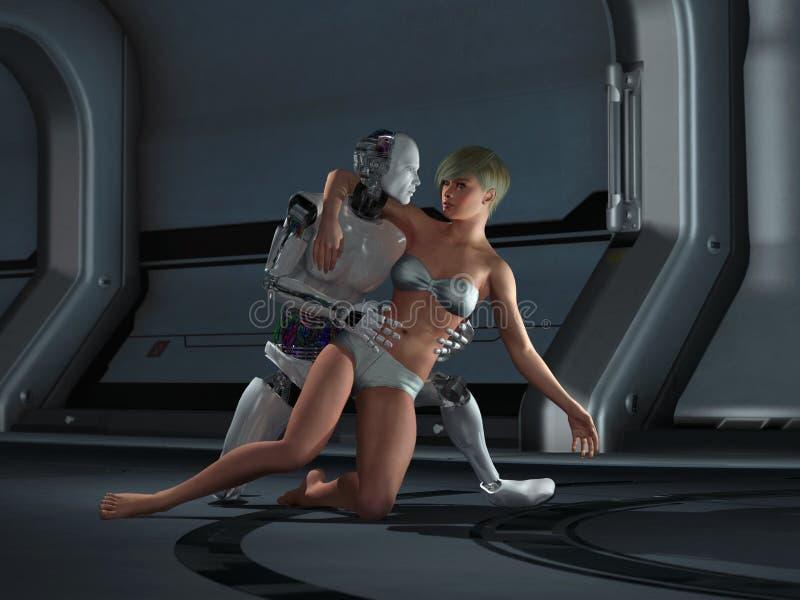 Robot and woman couple