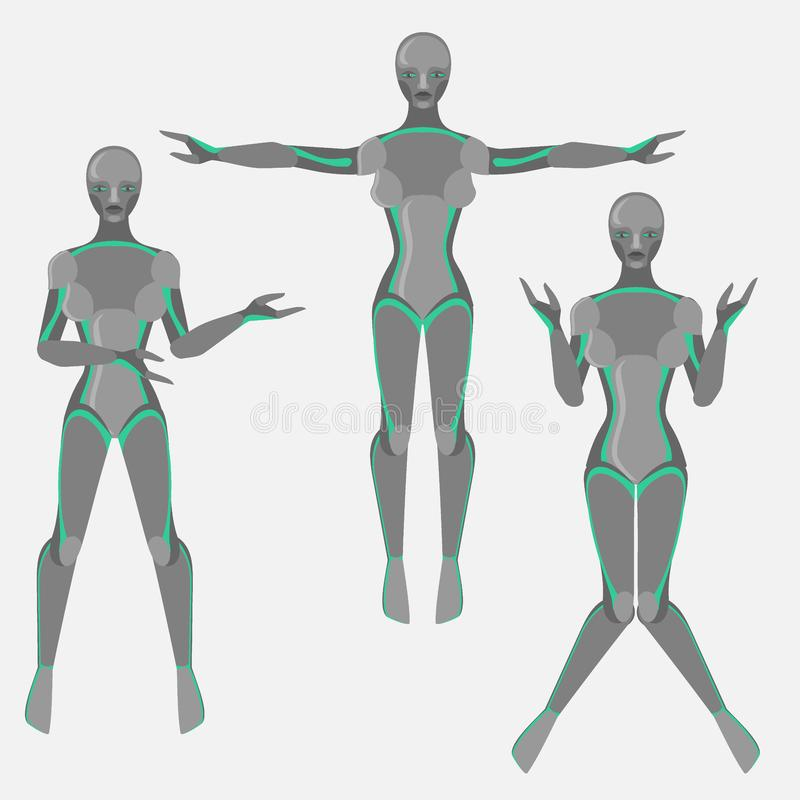 Robot woman, female cyborg, technology characters, flat humanoid from future, mechanical chrome body,. Robot woman, female cyborg, technology characters, flat stock illustration