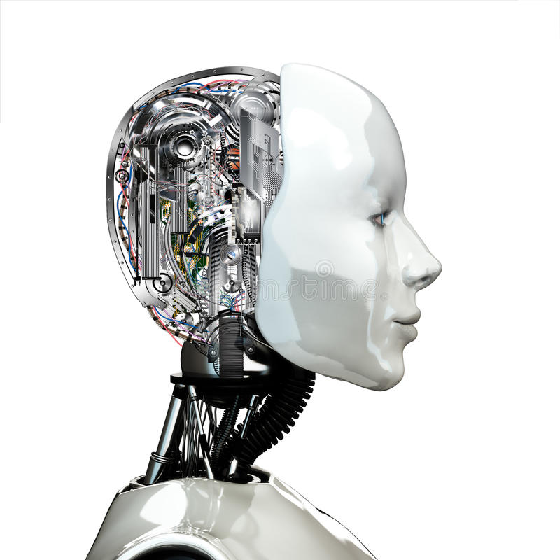 A robot woman head with internal technology. Side view isolated on white background