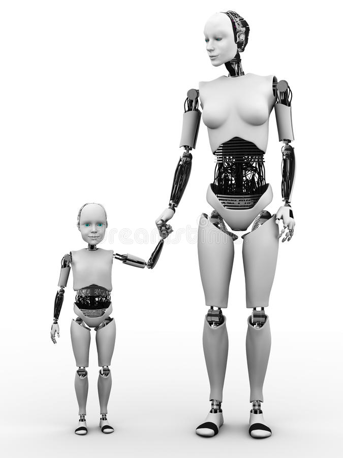 Robot Woman With Her Child. Royalty Free Stock Photography