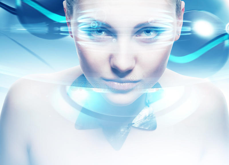 Robot woman with lighting eyes. And virtual interfase royalty free stock photography