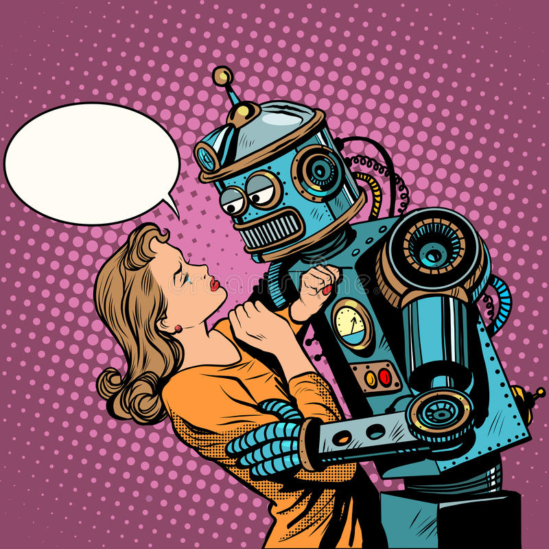 Robot woman love computer technology royalty free illustration