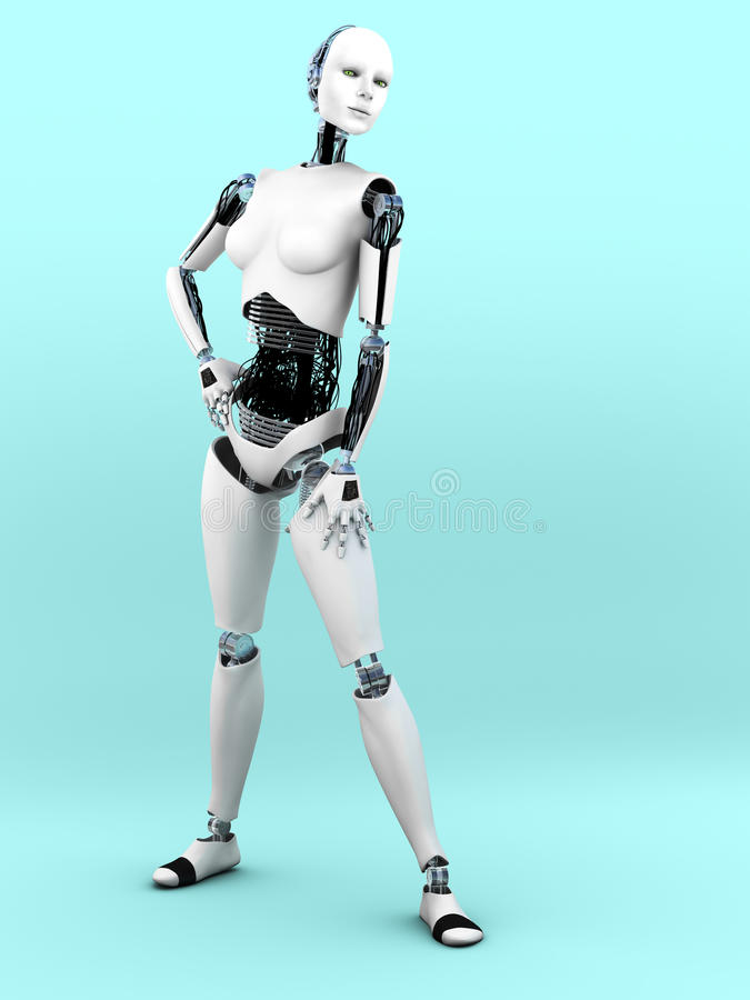 Robot woman posing. A full body image of a robot woman in a standing pose. Bluish background stock illustration