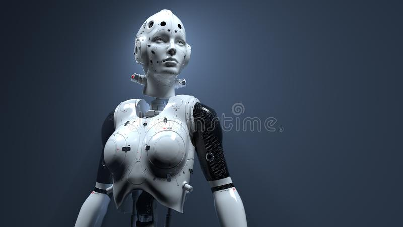 Robot woman, sci-fi woman digital world of the future of neural networks and the artificial. Robot woman, sci-fi woman  digital world of the future of neural stock images