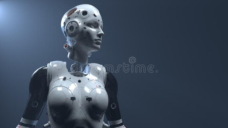 Robot woman, sci-fi woman digital world of the future of neural networks and the artificial. Robot woman, sci-fi woman  digital world of the future of neural royalty free stock images