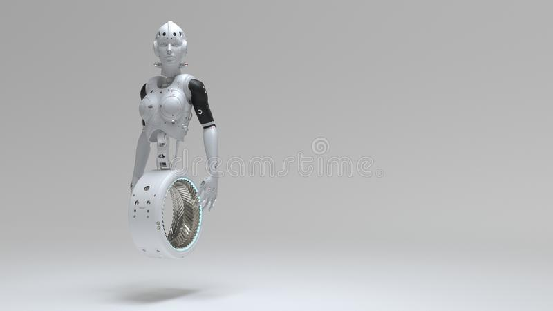 Robot woman, sci-fi woman  digital world of the future. Of neural networks and the artificial intelligence 3d render royalty free illustration