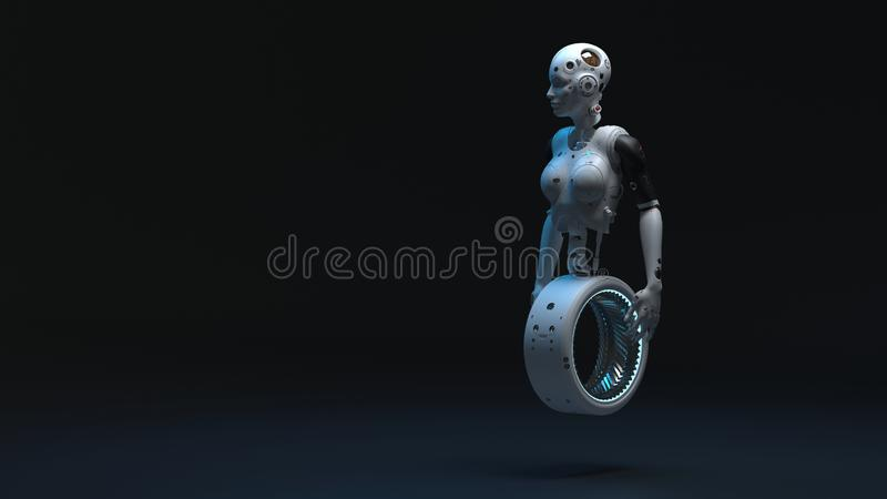 Robot woman, sci-fi woman  digital world of the future. Of neural networks and the artificial intelligence 3d render vector illustration