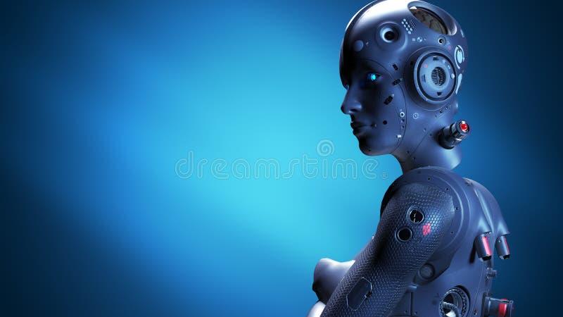Robot woman, sci-fi woman stock illustration