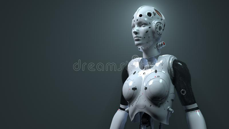 Robot woman, sci-fi woman digital world of the future of neural networks and the artificial. Robot woman, sci-fi woman  digital world of the future of neural stock illustration