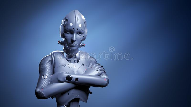 Robot woman, sci-fi woman vector illustration