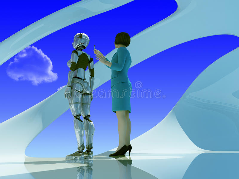 The robot woman and woman stock illustration