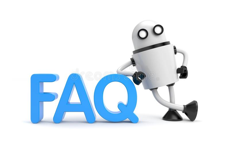 Robot with word FAQ vector illustration
