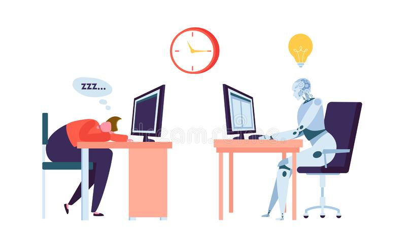 Robot Work while Businessman Sleeps. Human and Droid Competition at Office. Robotic Character Worker Future Evolution vector illustration
