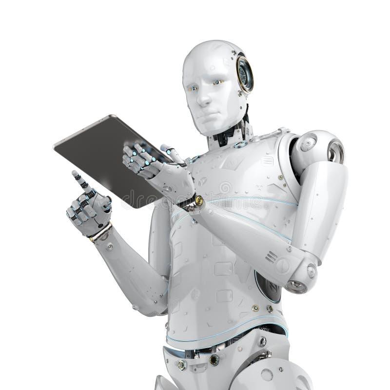 Robot work on tablet royalty free illustration