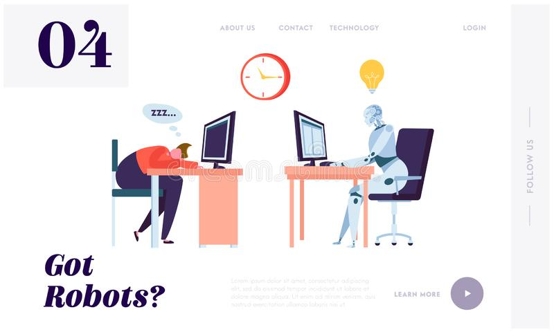Robot Working All Time Landing Page. Character Sleeping on Workplace. Machine can Process Information Constantly Without Stopping royalty free illustration