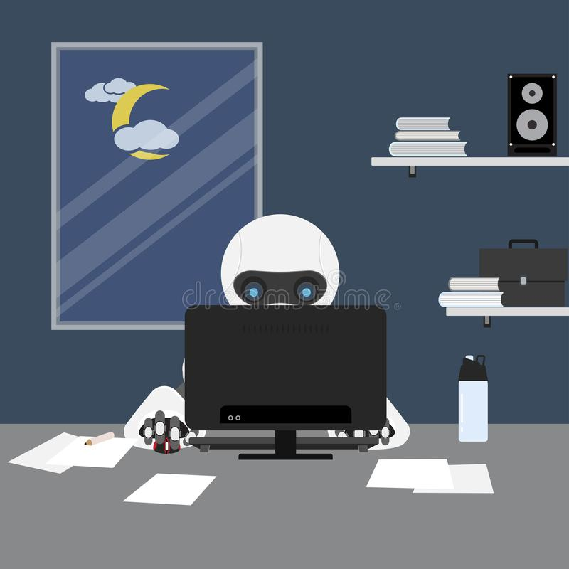 Robot working on computer. stock illustration