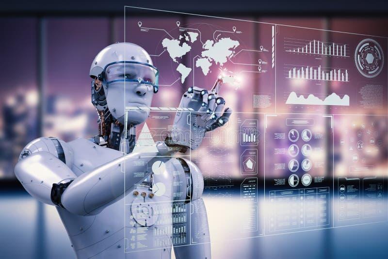 Robot working with digital display stock illustration