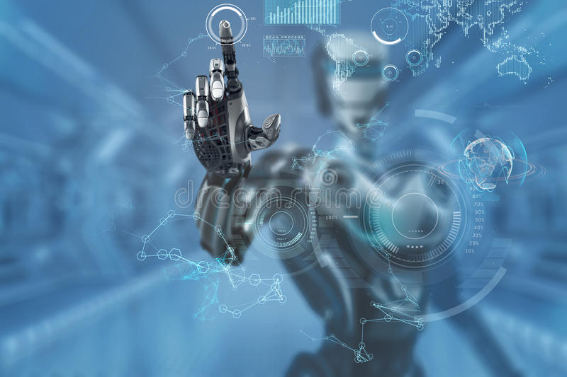 Robot Working With Interface. Index Finger Pointing. Mechanical robotic arm touching virtual hud screen interface. A robot in futuristic designed environment. 3d stock illustration