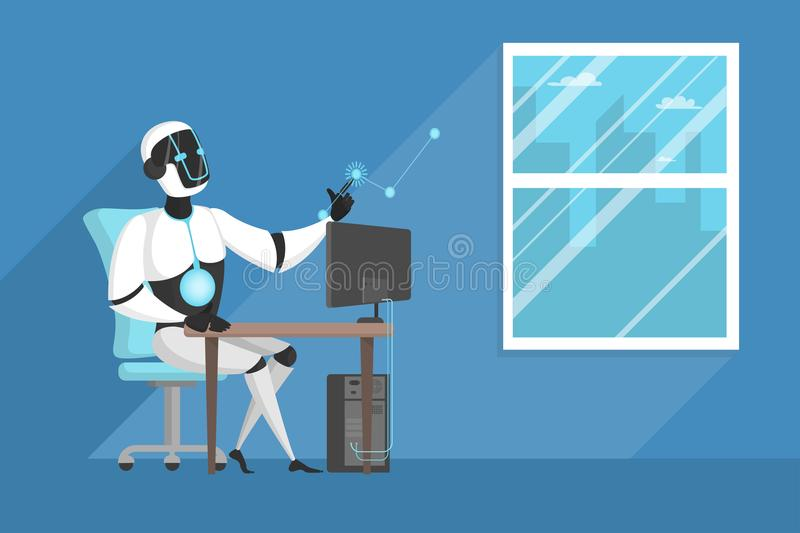 Robot working at office. stock illustration