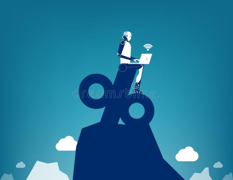 Robot working on percentage, Concept business marketing online vector illustration, Flat business characterk, Cartoon style design vector illustration