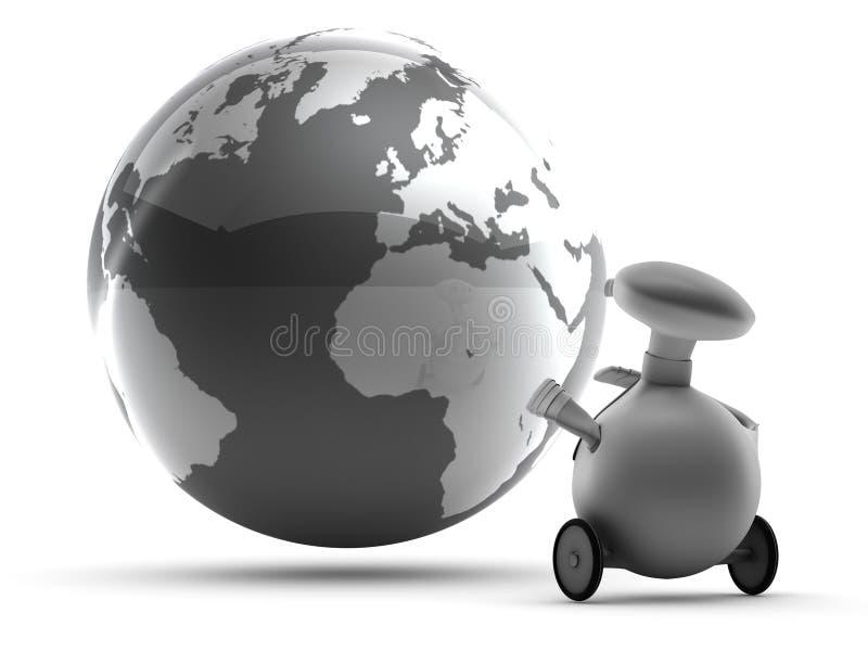 Robot and World globe