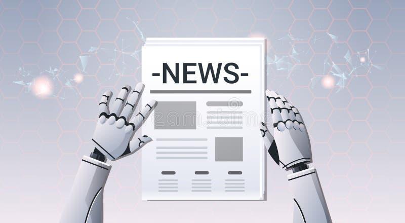 Robot wręcza mieniu gazetową humanoid czytelniczą dzienną wiadomość odgórnego kąta widok sztuczna inteligencja cyfrowy futurystyc ilustracji