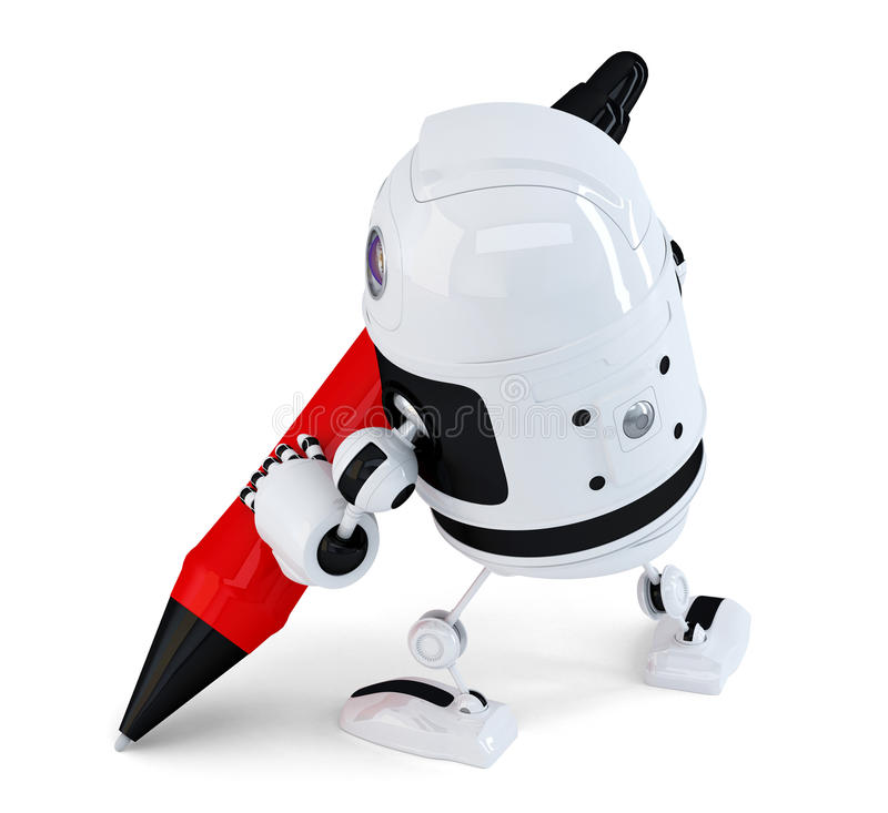 Robot writing with a pen. . Contains clipping path royalty free illustration