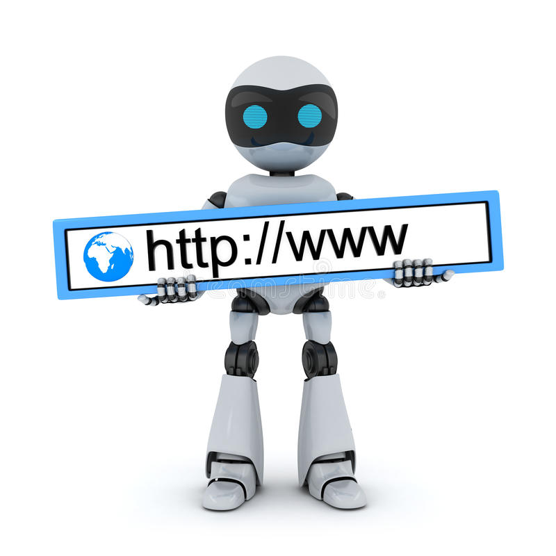 Robot and www address vector illustration