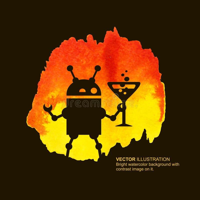 Robot y bebida stock de ilustración