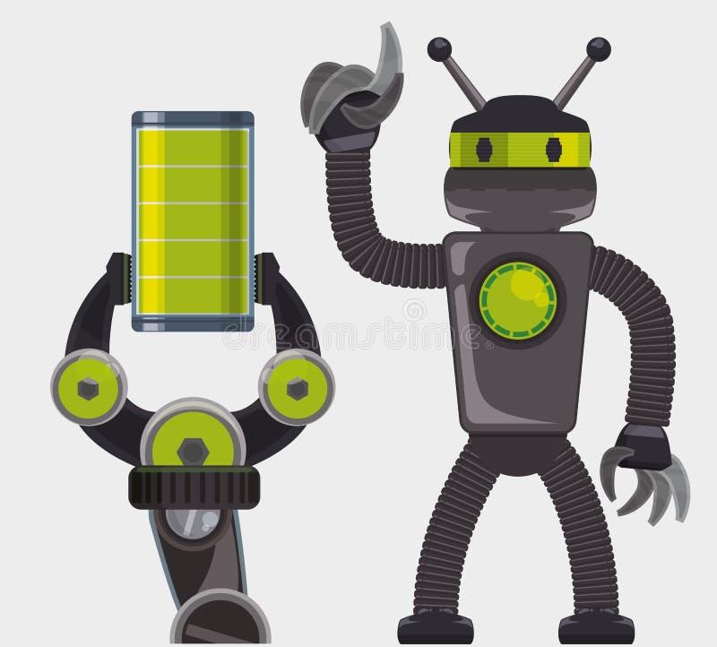 Robot y diseño de la tecnología stock de ilustración