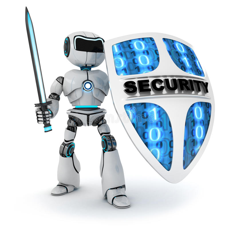 Robot y escudo stock de ilustración
