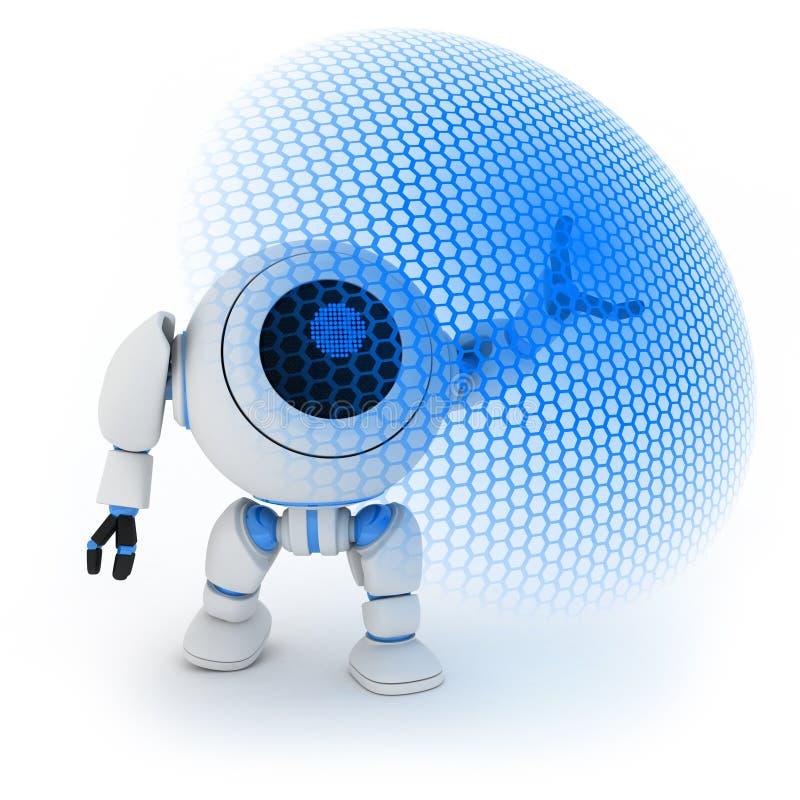 Robot y escudo modernos de la energía stock de ilustración