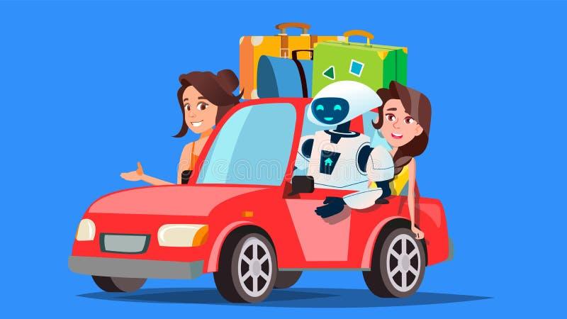 Robot y gente que viajan en coche con vector de las maletas Coche autónomo Ilustración aislada ilustración del vector