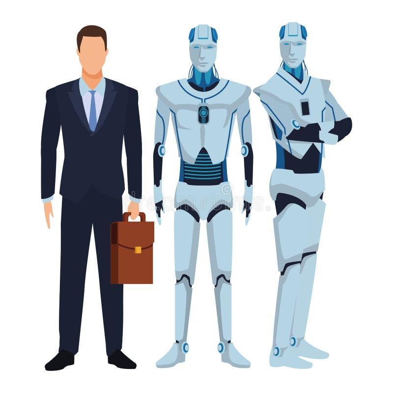 Robot y hombre de negocios Humanoid stock de ilustración