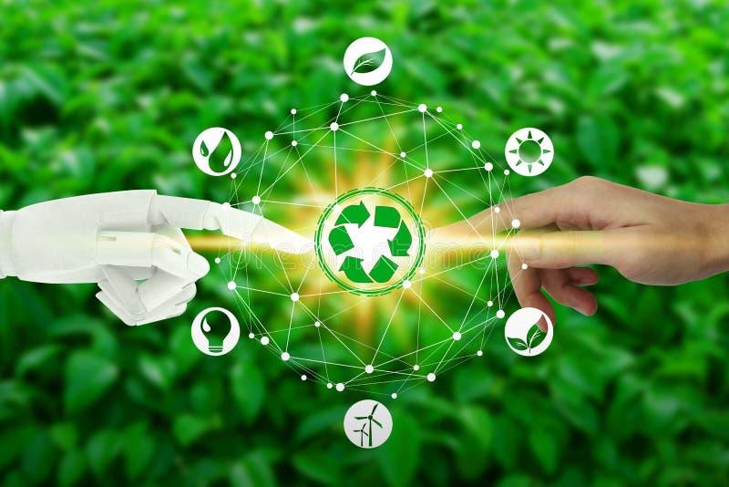 Robot y manos humanas con el tacto de iconos virtuales del ambiente sobre la conexión de red en el fondo de la naturaleza, artifi libre illustration