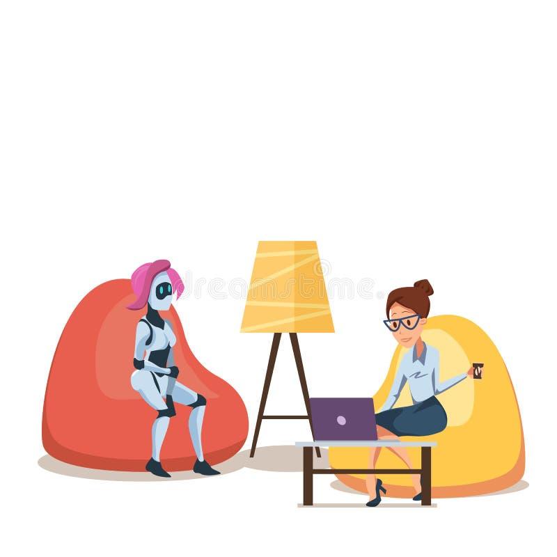 Robot y mujer con el ordenador portátil en Bean Bag Chair stock de ilustración