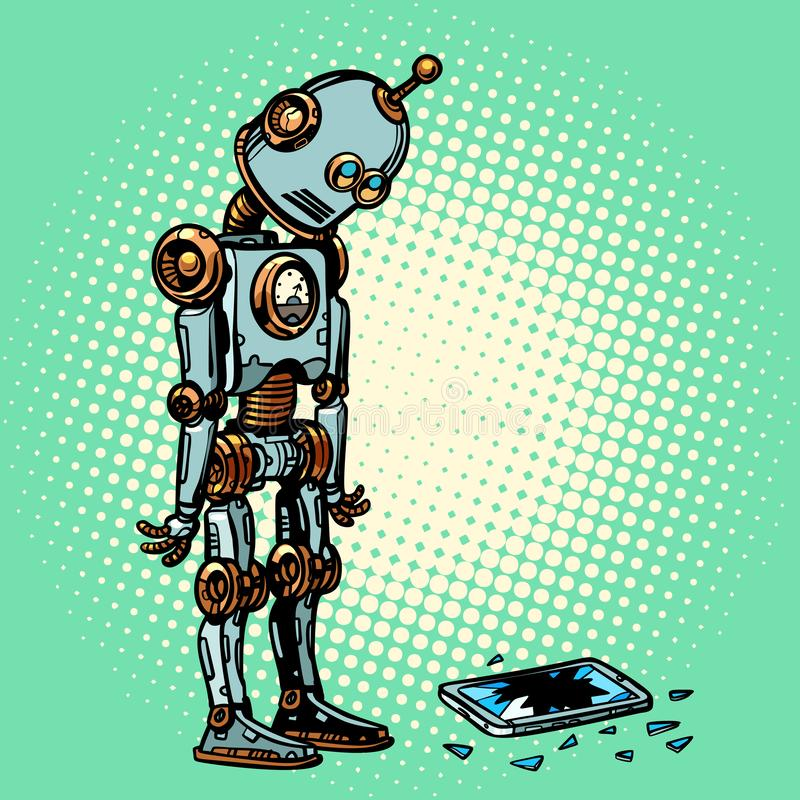 Robot y pantalla quebrada del teléfono ilustración del vector