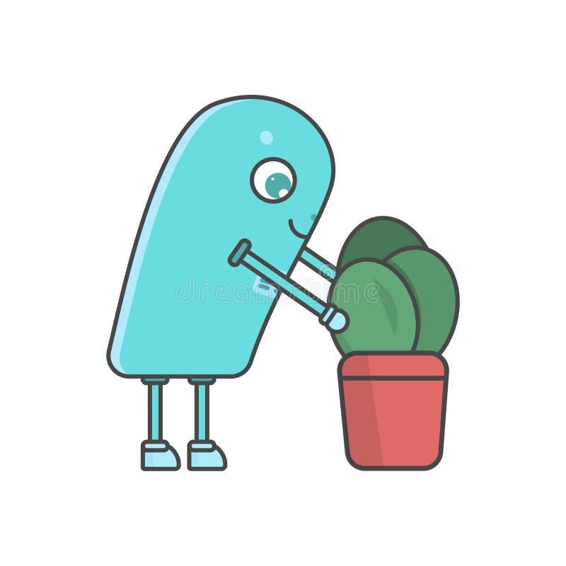 Robot y planta elegantes - escena del RPA ilustración del vector