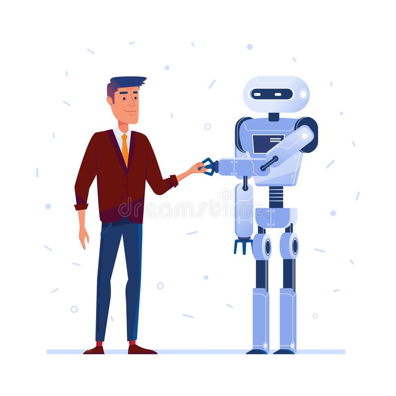 Robot y ser humano que sacuden las manos stock de ilustración