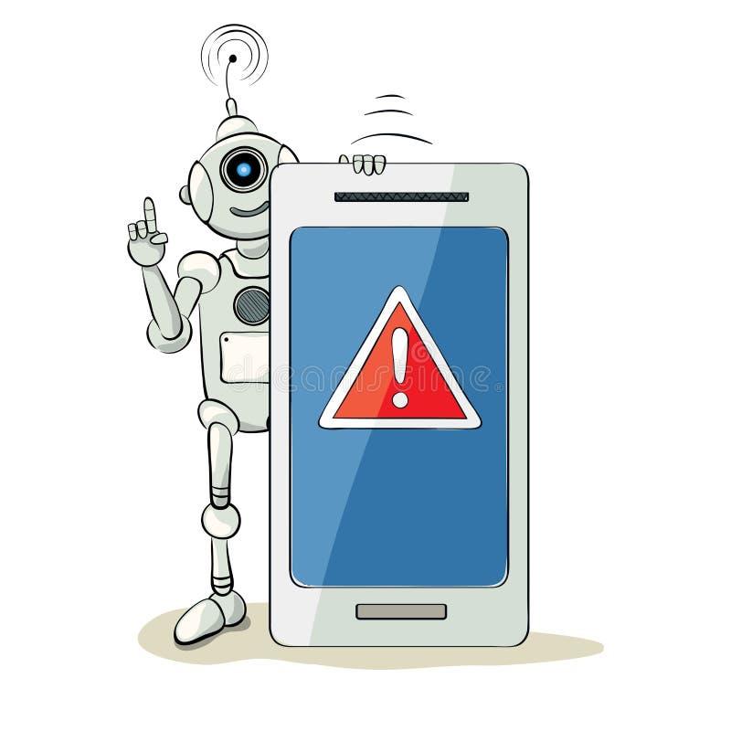 Robot y smartphone - atención stock de ilustración